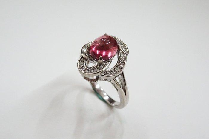 %玉承珠寶% 天然粉紅碧璽925純銀戒指A192(輕珠寶系列)(珠寶設計訂做.專業配鑽.雙向溝通)(高價收購K金)