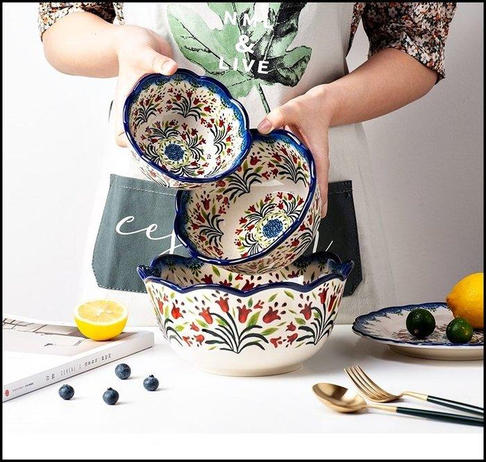鄉村風 純手工彩繪紅色小花朵陶瓷5寸飯碗(小) 380ML湯碗造型碗 入厝野餐露營餐具點心碗【歐舍傢居】