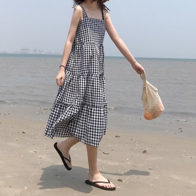 ✨Space.Stroll✨【C0059】格子綁帶背心裙【預購-長版】