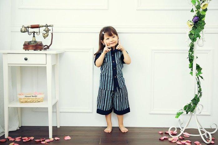 !!!((中國藍Anewei))客家藍染植物染小寶寶套裝襯衫+褲子~S~最後一套 同系列任選兩組999