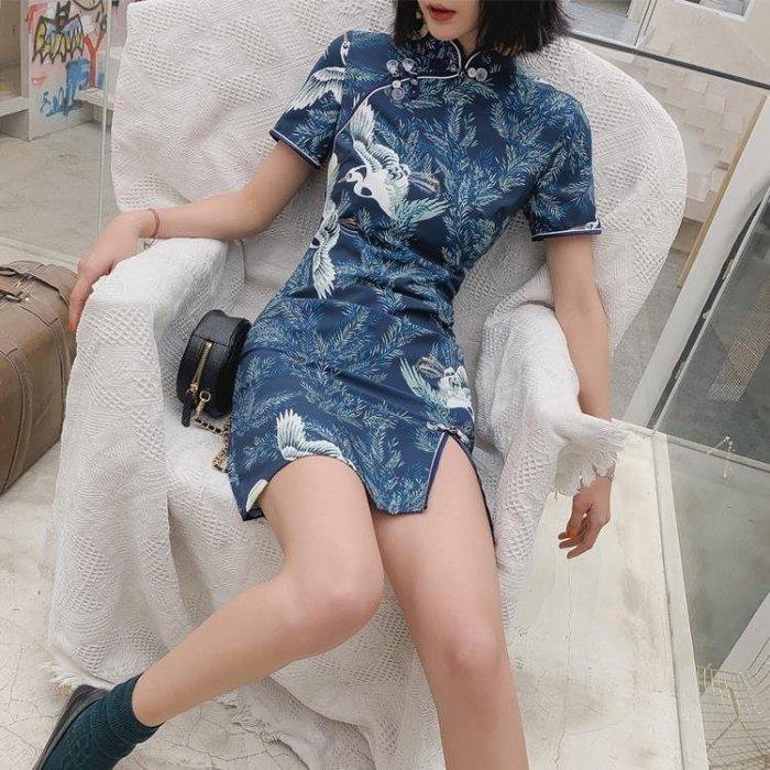 愛裳霓日常改良旗袍洋裝2019夏中國風復古年輕款新式少女旗袍