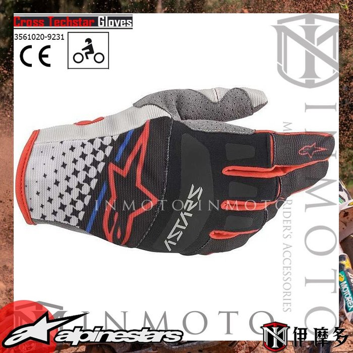 伊摩多※義大利 Alpinestars Cross Techstar gloves 3561020 灰黑紅 越野短手套
