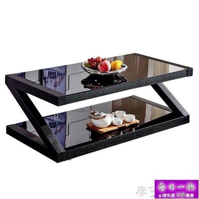 茶幾簡約客廳茶桌黑色鋼化玻璃茶幾餐桌兩用長方形創意小茶幾桌子【每日一物】