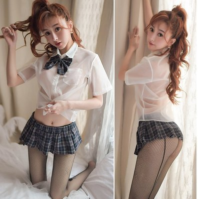 ♫蘇格蘭超短裙搭透視白襯衫加蝴蝶結,不含襪,襪另售《A2740》魔法戀人