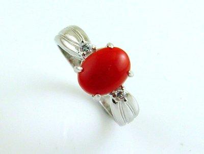 紅珊瑚 戒指 頂級阿卡 925純銀 附保證書【大千珠寶】
