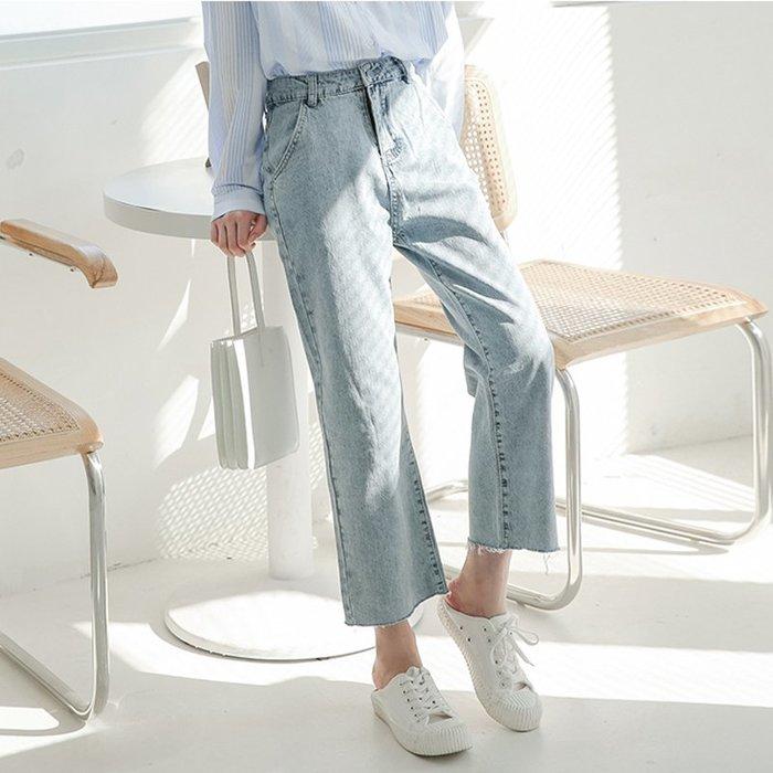 SEYES  韓系女孩必備牛仔須邊直筒九分褲