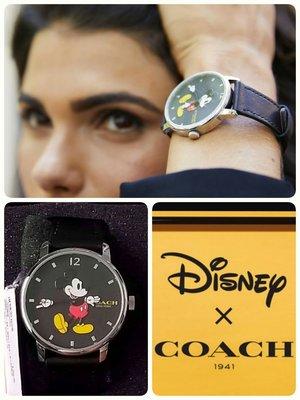 限量Coach 迪士尼復古大錶盤米奇皮革手錶 (手是時針和分針~~會動哦)
