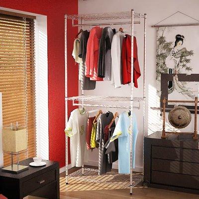 [客尊屋] 鍍鉻 46X91X210H(接)雙衣桿三段,衣櫥, 鍍鉻層架,雙衣桿,衣服收納櫃,衣架/1104509010