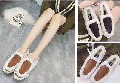 GOGO SHOP☆╭♥GT0025♥新款發佈歐美範秋冬款羊羔毛毛厚底單鞋 保暖鞋