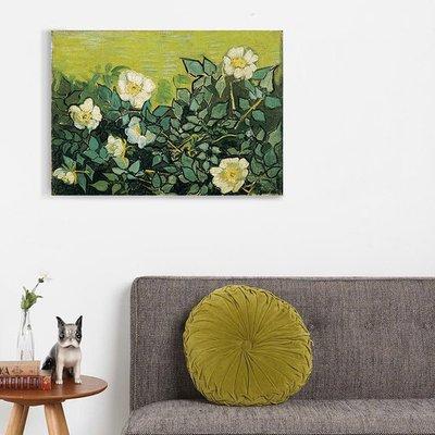 客廳餐廳無框畫裝飾畫後印象派荷蘭梵高Wild roses野玫瑰推薦