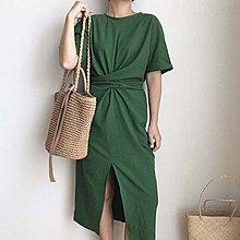 Maisobo 韓國KOREA官網款 大推好版型扭結開叉短袖洋裝 W-70 預購