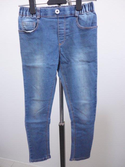 99元起標~MEMEN~無印設計彈性牛仔褲~藍色~SIZE:15