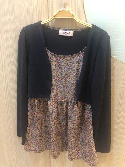 小花別針、專櫃品牌【CUMAR 】假兩件上衣