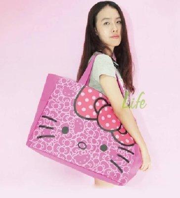 超大容量卡通kitty單肩手提可折疊購物環保帆布袋(kitty)花梅紅