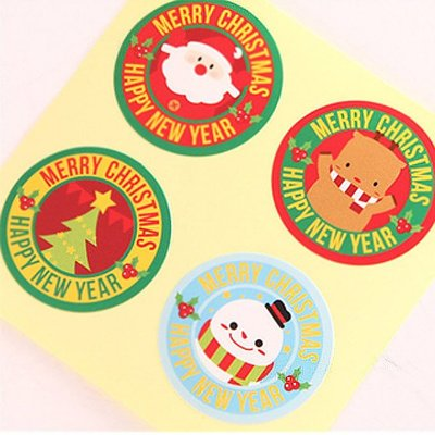 雙色英文環繞圓環聖誕老人麋鹿圓形貼紙 (8枚入)【XM0125】《Jami Honey》