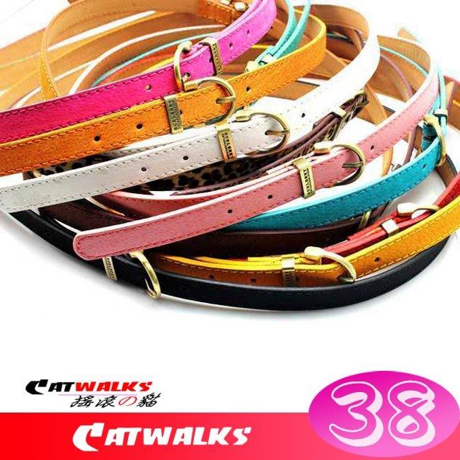 台灣現貨  * Catwalk's 搖滾の貓 *韓風細版復古銅色扣頭皮革腰帶 ( 棕色、深咖啡色、黑色、白色、水藍色 )