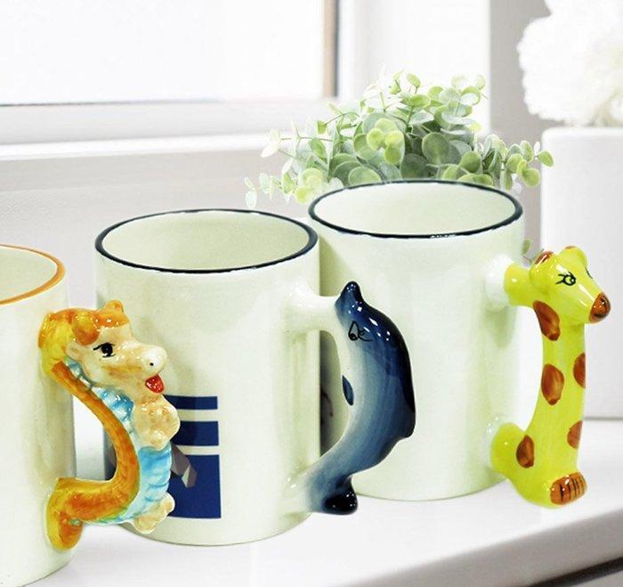 【轉印王】可愛 動物杯 長頸鹿 龍 海豚 SGS檢驗合格馬克杯 個性化 客製化 熱轉印 生日禮 婚禮小物 情人節 ぬ