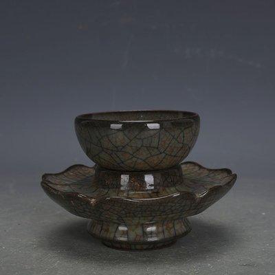 ㊣姥姥的寶藏㊣ 宋代哥窯金絲鐵線功夫茶杯茶托配套  出土文物古瓷器古玩古董收藏