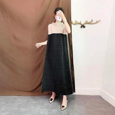 無袖洋 裝 連身 長裙-風琴壓褶拼色寬鬆女裙子3色73yf7[獨家進口][米蘭精品]