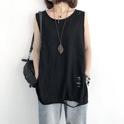 四季。單穿打底都可以 個性破洞 竹節棉純色吊帶長款背心上衣-Euphoria Store