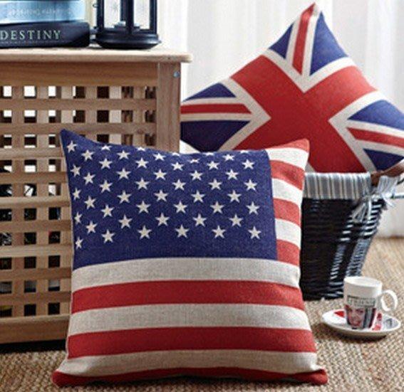 英國旗美國旗全棉亞麻布料抱枕枕頭腰枕套 [布拉格家居]