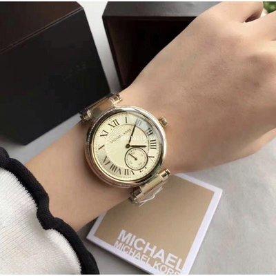 MICHAEL KORS MK5867時尚女錶羅馬字奢華金鑲鑽腕錶/正品MK手錶