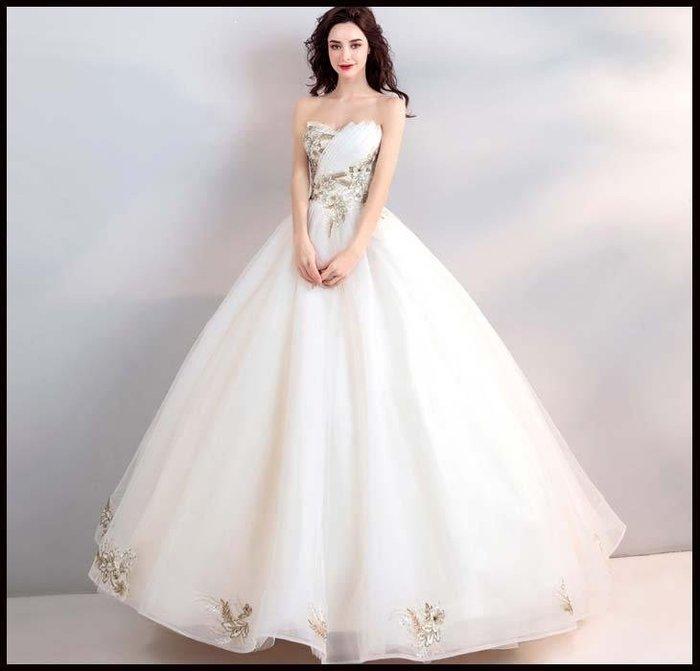 哆啦本鋪 天使的嫁衣 輕奢金色刺繡 優雅抹胸新娘婚紗禮服D655