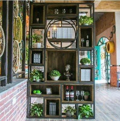 『格倫雅』復古鐵藝書架客廳美式方框隔斷實木隔板置物架展示貨櫃^23661