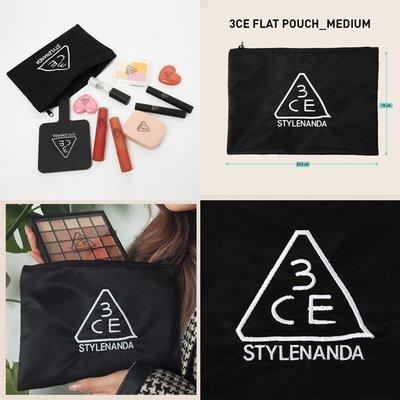 【韓Lin連線代購】韓國 3CE - FLAT POUCH MEDIUM 極簡黑色中化妝包 收納包