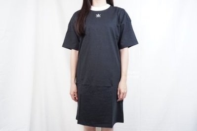 adidas 愛迪達 大logo 長版上衣 連身裙 洋裝 dh3184 黑 女