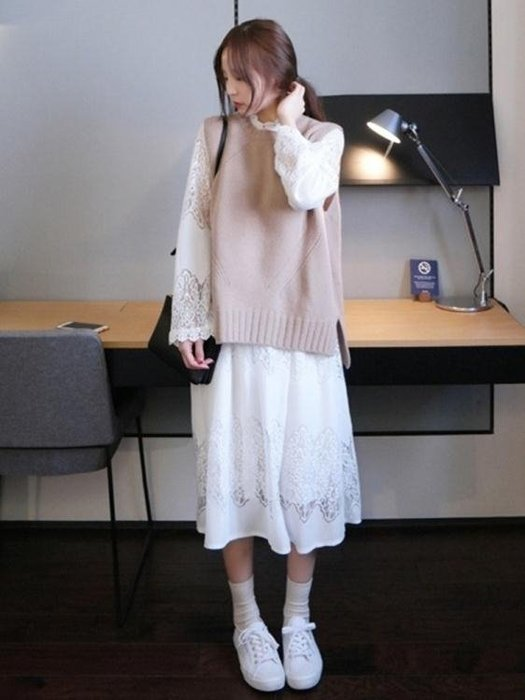 chic早秋蕾絲長裙針織馬甲裙子加外搭初秋兩件套連衣裙女氣質套裝