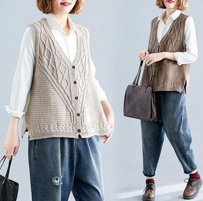 針織背心  馬甲 韓版毛衣寬松外穿開衫 大尺碼女裝 莎芭