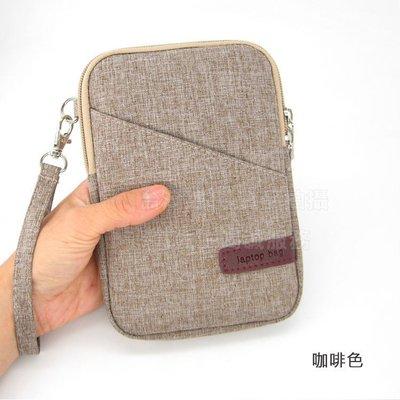 【GooMea】3免運 Samsung 三星GaIaxy A9 star 亞麻布拉鍊款 手拿袋 手拿斜背 咖啡