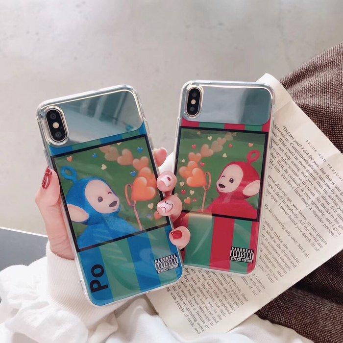 千夢貨鋪-天線寶寶圖案蘋果X手機殼xs max補妝鏡子xr情侶款6/7/8plus