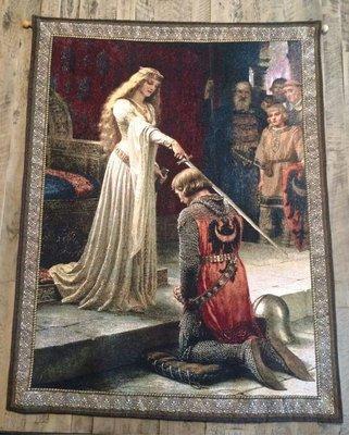 【波賽頓-歐洲古董拍賣】歐洲/西洋古董 法國早期 19世紀 蘭斯洛特爵士和奎尼韋雷女王壁毯/掛毯(100x77cm)(已售出)