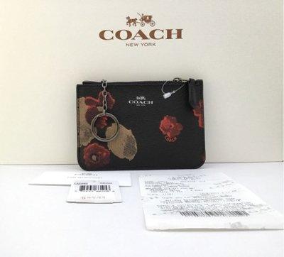 JJ美國代購~COACH 55999  黑底花卉  防刮皮 卡夾包 鑰匙包 零錢包 58032 12773 57468