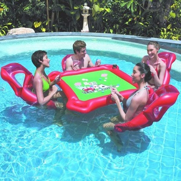 5Cgo【批發】含稅會員有優惠 520918469693 成人水上浮排套件娛樂遊戲玩具充氣遊泳池充氣麻將桌水上桌椅游泳池