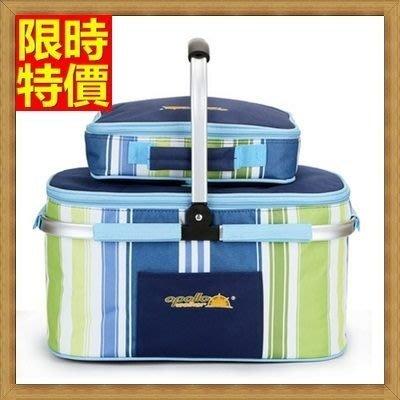 野餐包 4人餐具組 手提包-手提時尚軍綠藍綠條紋餐具分離野餐包 68ag35[獨家進口][米蘭精品]