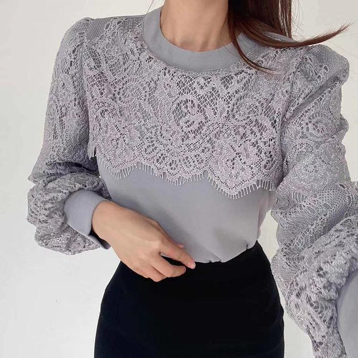 *~fuyumi boutique~*100%正韓 冬裝新款 甜美蕾絲拼接上衣 米白/灰/黑/深杏