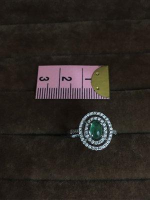 (JA1043)天然祖母綠寶石 925銀戒台 女戒