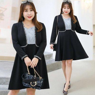 ✿plump girl 韓系✿大尺碼女裝蕾絲拼接假兩件連衣裙