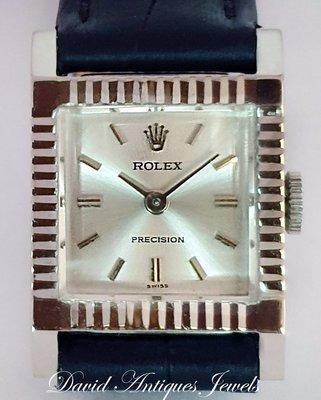 ((天堂鳥)) Rolex 勞力士2157 Precision系列方形刻度18K白金手上鍊女錶|超優品相|特惠價