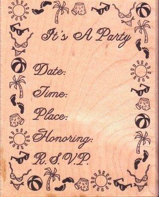 陽光一品DIY卡片印章專賣店~~木頭印章--參加Party囉~~--##57-114K##~~美國製絕版品