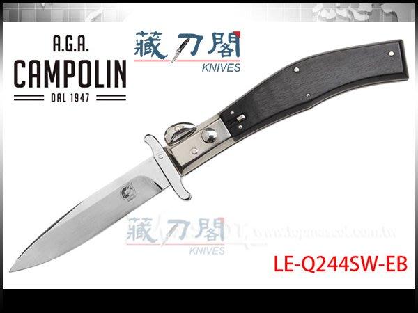 《藏刀閣》A.G.A.Campolin-(Lepre Swinguard)烏木大型野兔彈簧刀