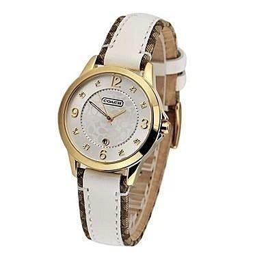 【Woodbury Outlet Coach 旗艦館】COACH 14501423 時尚皮布帶腕錶新款女錶 美國正品代購
