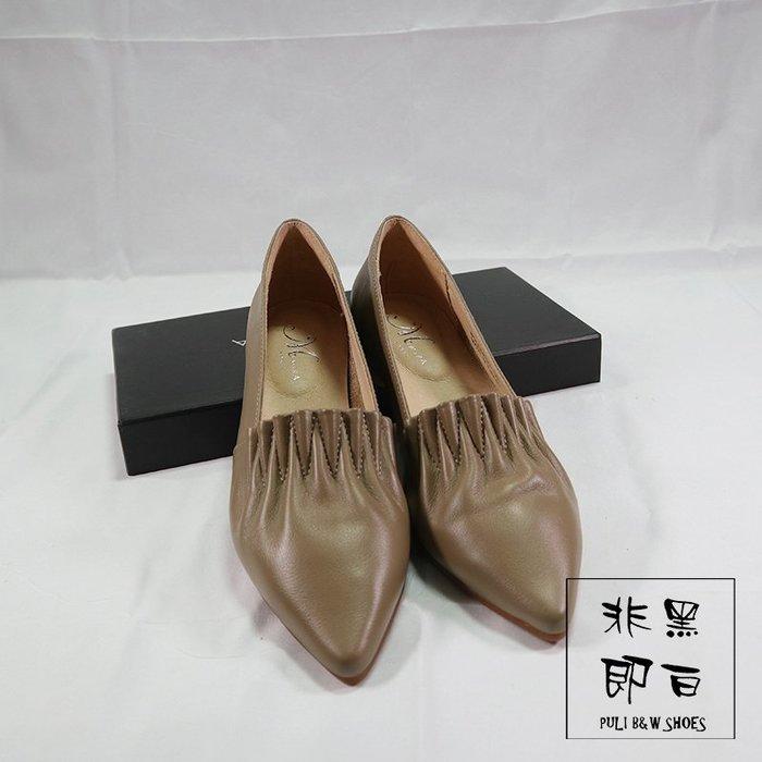 【非黑即白】韓系歐膩時尚尖頭平底真皮休閒鞋 跟鞋 杏色 329586