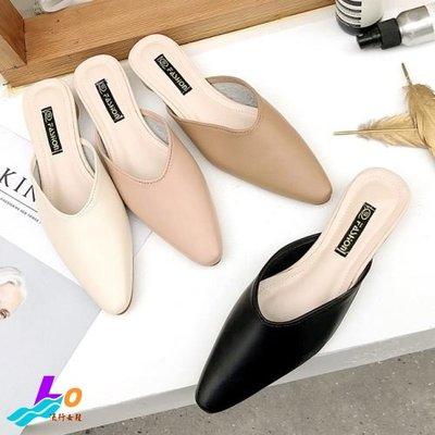 Lo流行女鞋~ 隨性品味*.雜誌必推尖頭低跟穆勒鞋