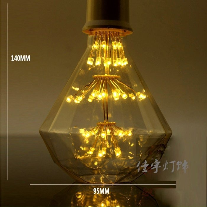 5Cgo【權宇】復古愛迪生 LED 鑽石燈泡 E27 3W 另有滿天星 燈籠 造型 十棵9折 20棵8折 含稅會員扣5%