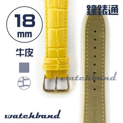 【鐘錶通】C1.40AA《霧面系列》鱷魚格紋-18mm 霧面橙黃┝手錶錶帶/皮帶/牛皮錶帶┥