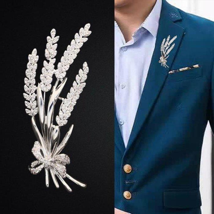個性西服麥穗胸針男高檔簡約西裝別針胸花領針男士復古潮流配飾